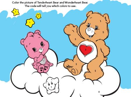 Care Bears Tenderheart & Wonderheart Bears Color-By-Number activity