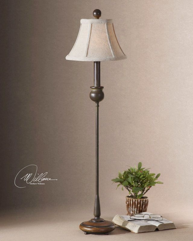 Uttermost 29882 1 metal buffet lamp with wood base from the susan collection rustic olive
