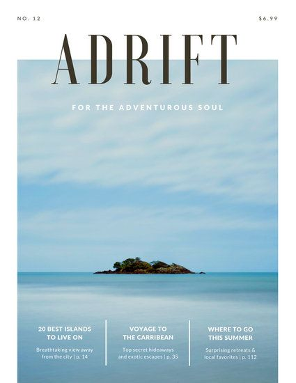 travel magazine cover with statue adrift island travel magazine templates by canva. Black Bedroom Furniture Sets. Home Design Ideas