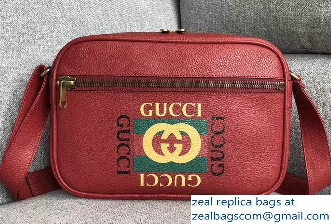 0085ac94d34ca7 Gucci Vintage Logo Print Shoulder Bag 523589 Red 2018 | Bags ...