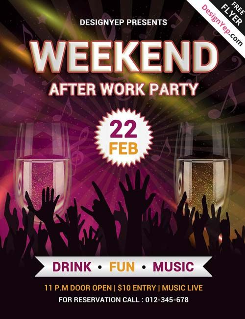 Weekend Party Free PSD Flyer Template Httpfreepsdflyercom - Weekend on call schedule template