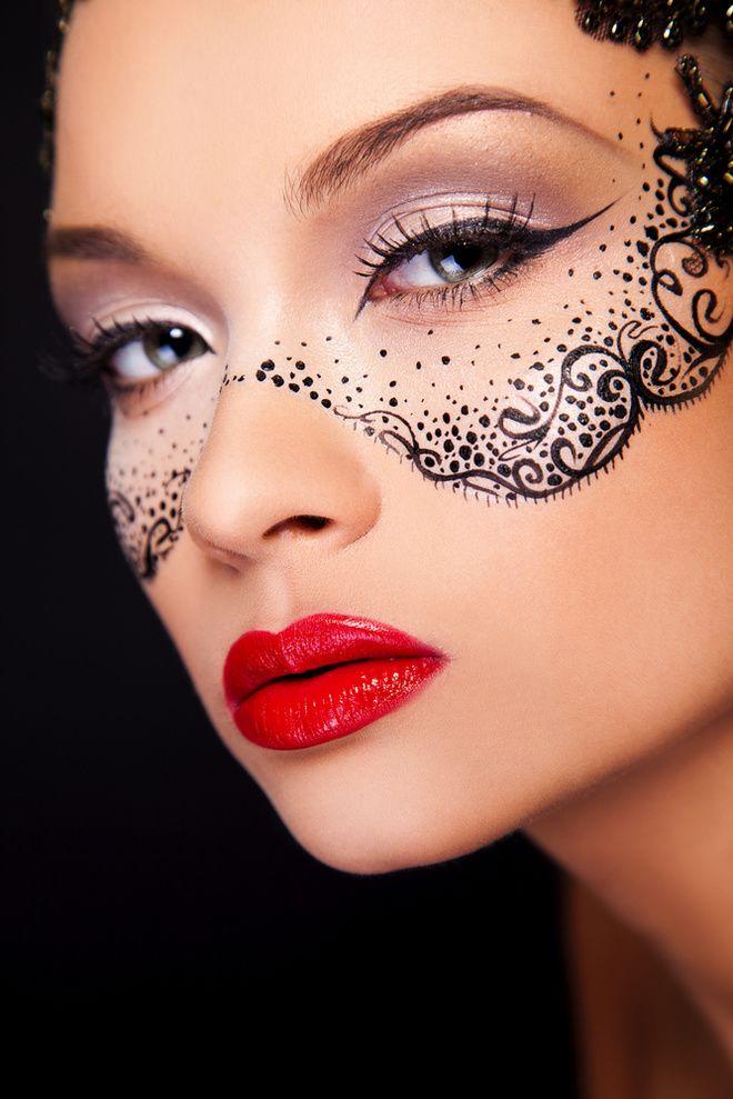 Как нарисовать на лице маску к Хэллоуину (фото)   Макияж ...