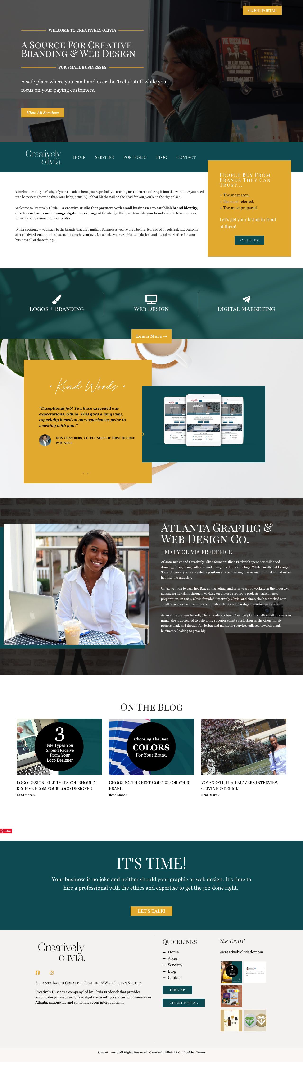 Website Design For Graphic And Web Designer In Atlanta Ga Combines Bold Colors With A Custom Theme Style Unique T Web Design Website Design Web Design Studio