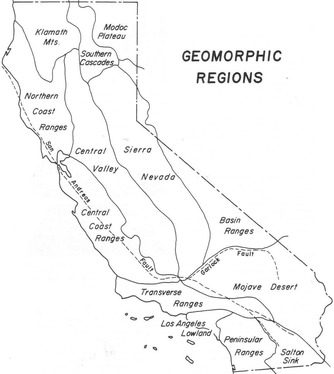 hight resolution of Geomographic regions of California   California map