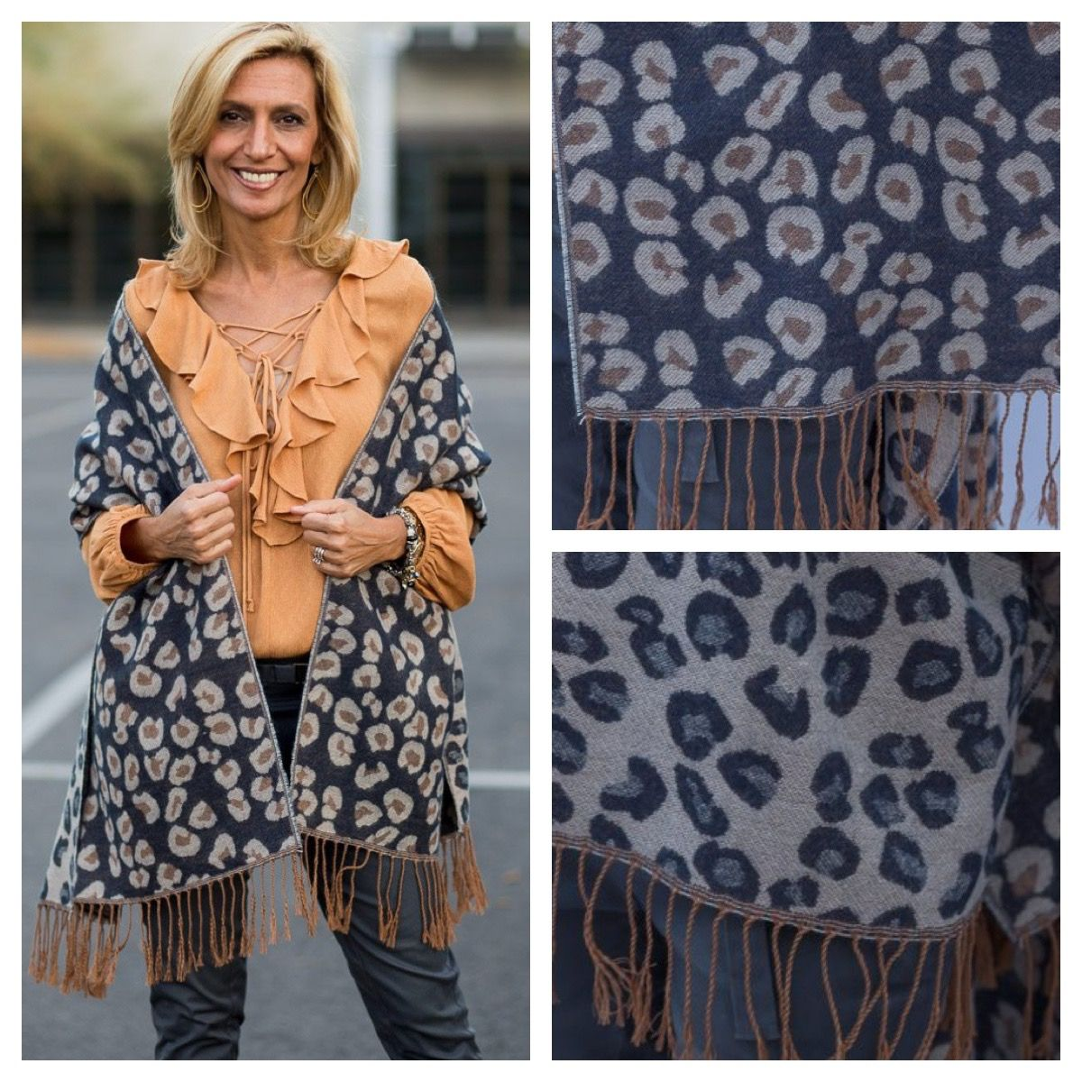 Back in Stock!  Super excited that we have been able to get a few more of our Leopard Reversible Shawls with fringe. Get yours before they sell out again www.jacketsociety.com