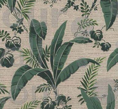 Banana And Palm Leaf Tropical Vintage Wallpaper 001