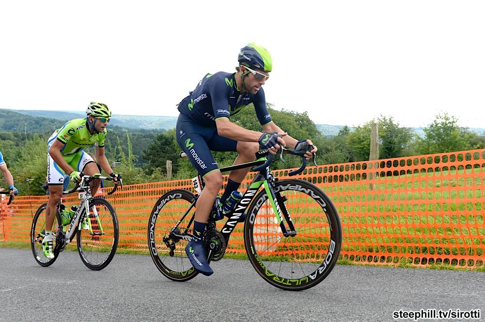 2014 eneco-tour photos stage-06 - Alex Dowsett (Movistar) leads the break the first of three times up La Redoute with about 75 km to go. They gained a maximum advantage of almost eight minutes.