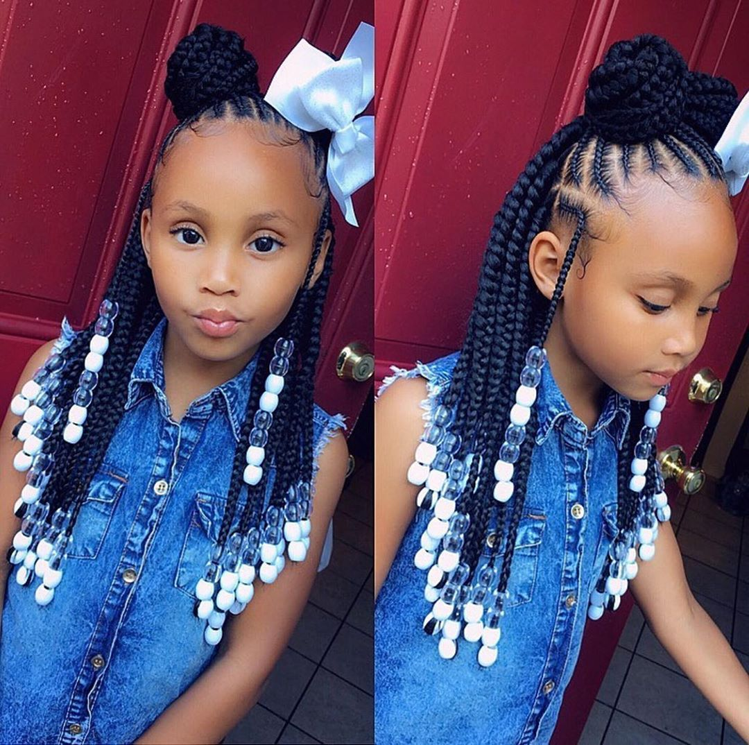 Protectivestyles On Instagram Shes So Adorable Tybaby333 Braids In The Front Box Braids In T Kids Hairstyles Girls Black Kids Hairstyles Kid Braid Styles
