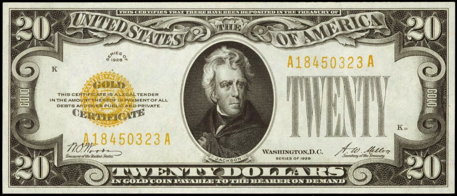 1928 20 dollar gold certificateworld banknotes coins pictures united states twenty dollar bill 1928 20 dollar gold certificate small size twenty obverse portrait of andrew jackson u 1betcityfo Images