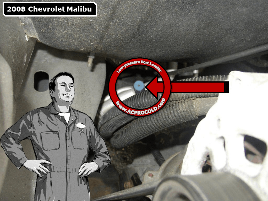 2008 Chevrolet Malibu Low Side Port for A/C Recharge