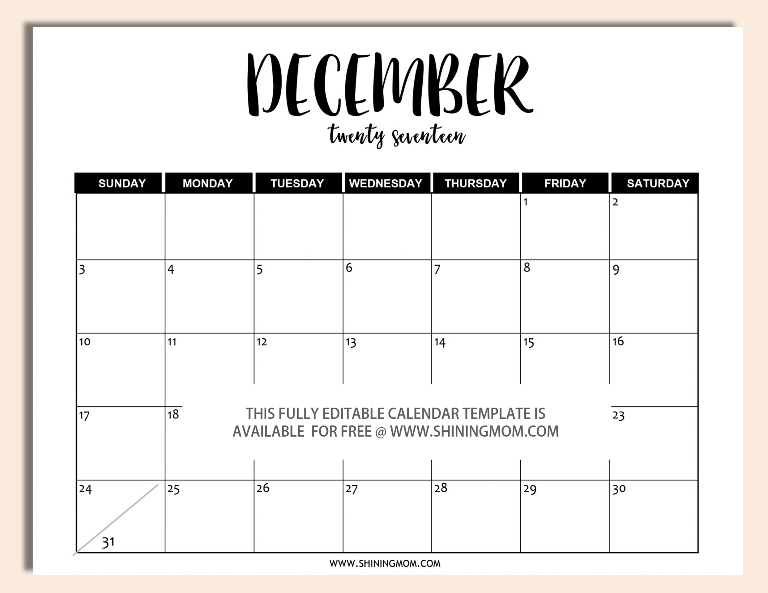 editable december 2017 calendar template in word