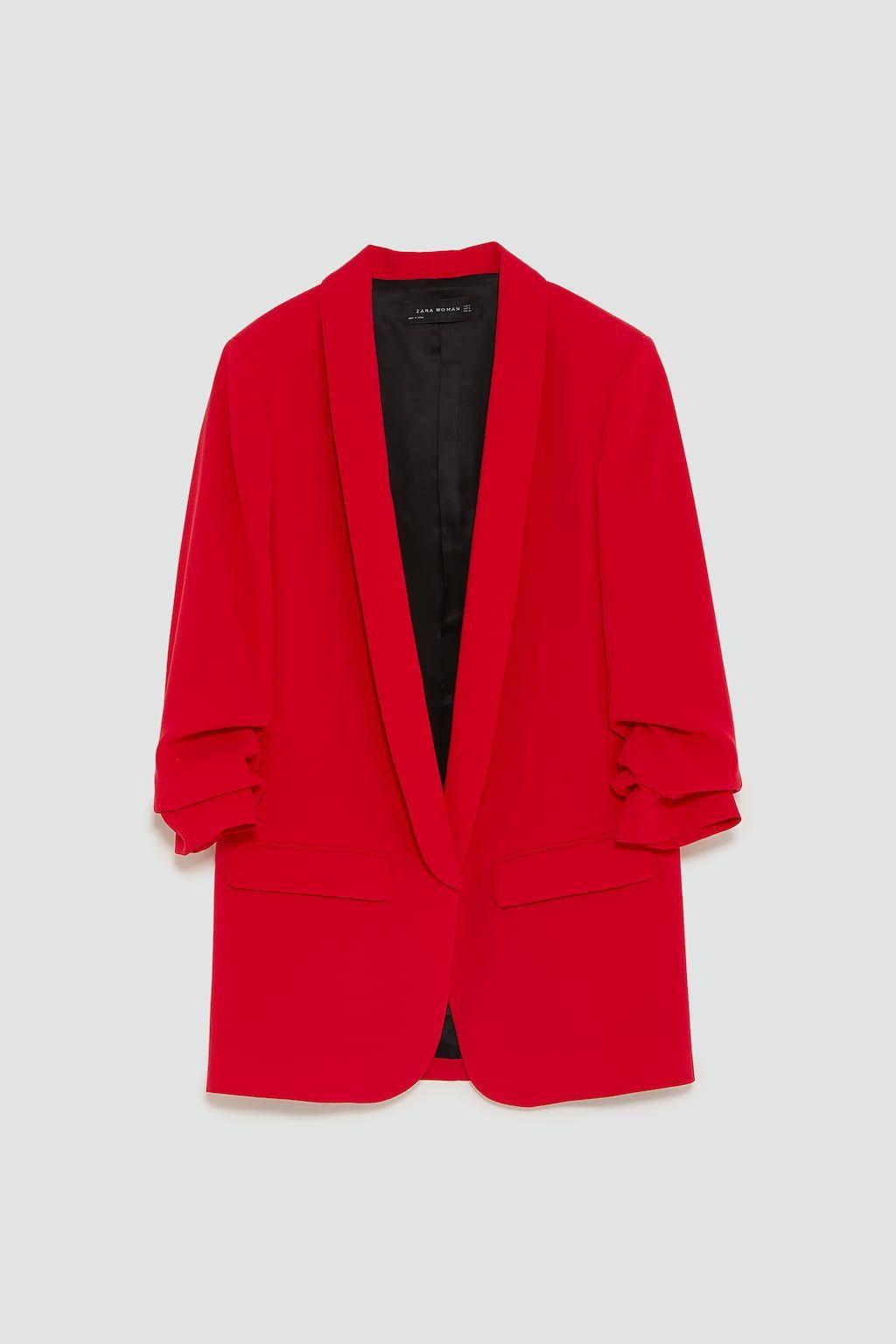 8a41e0440907a Zara Intense Red Crepe Blazer | Style | Blazer, Red blazer, White pants