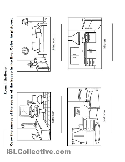 Kindergarten Worksheets Rooms Of The House #1