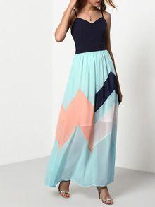 Multicolor Pastel Spaghetti Strap Backless Maxi Dress