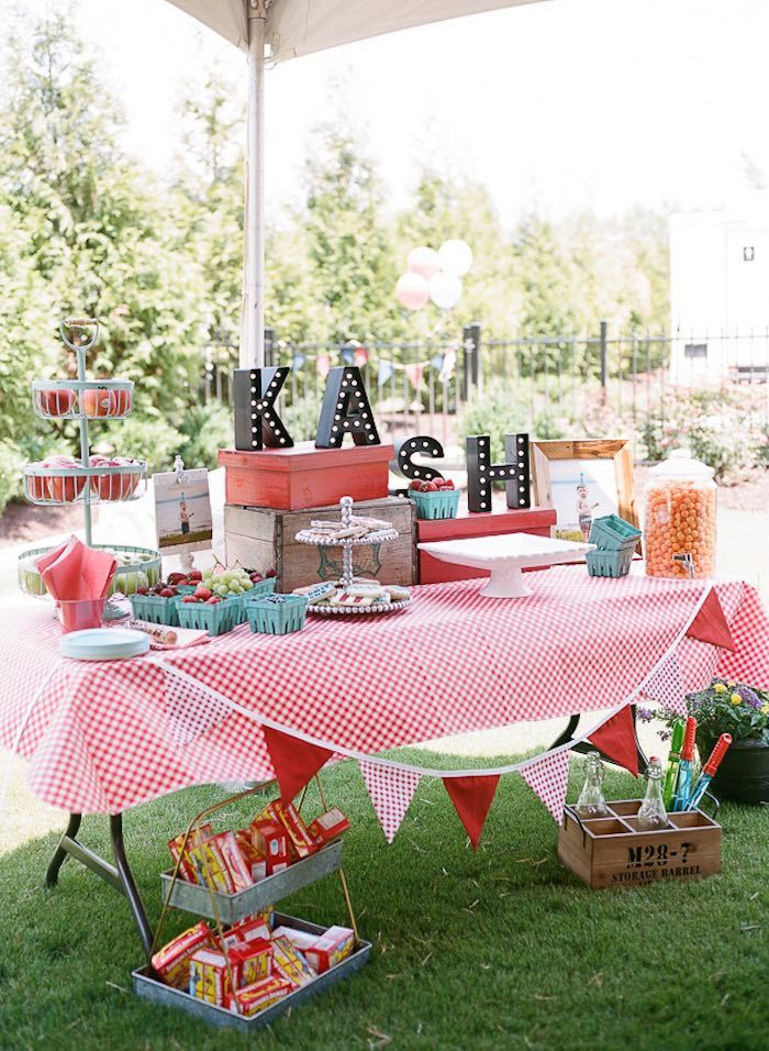 Sweet Table at a Vintage County Fair Carnival 1st Birthday Party