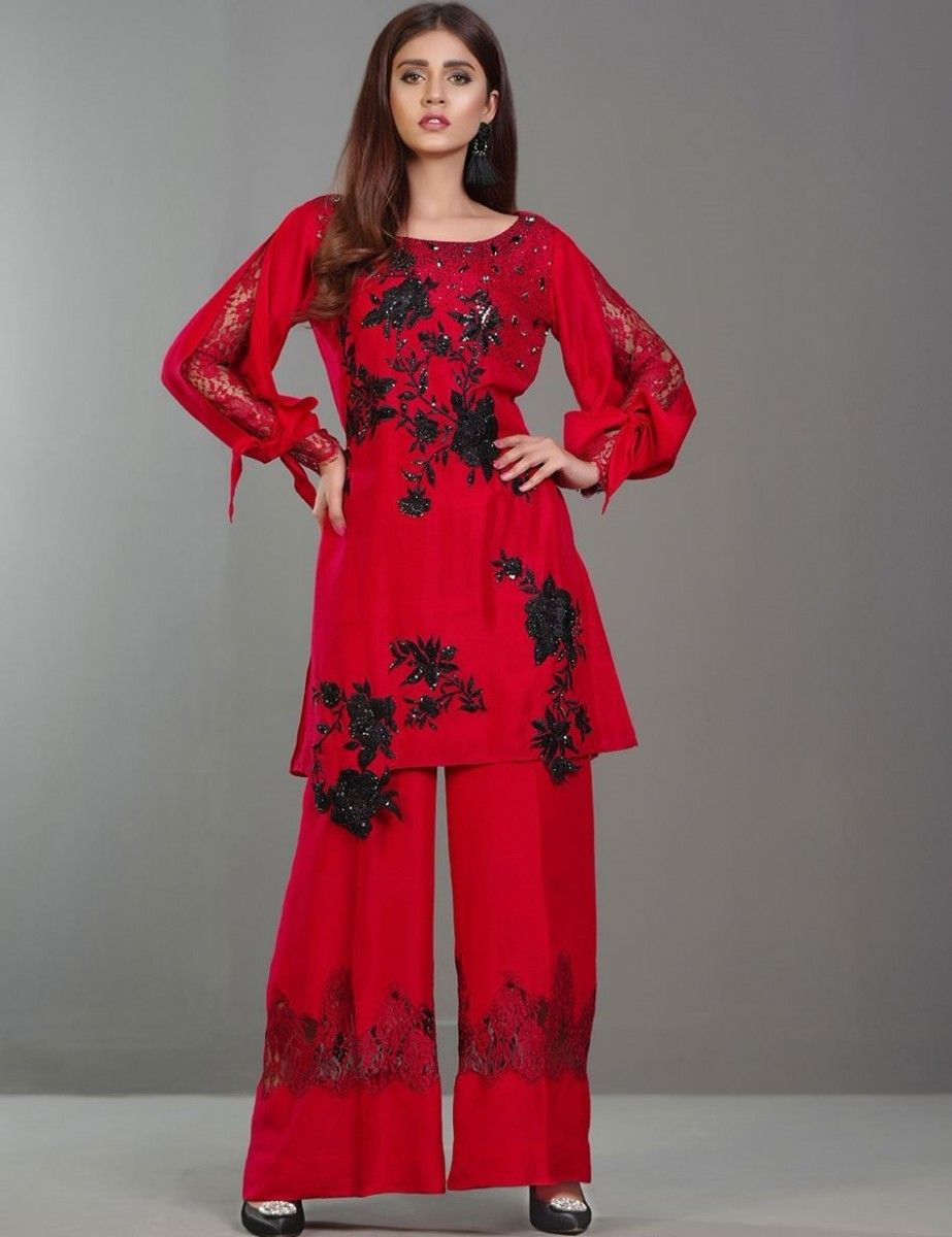 7bc3fbae60 Red embroidered Eid dress with #Swarovski_crystals and #Chantilly lace  trousers by Zainab Chottani