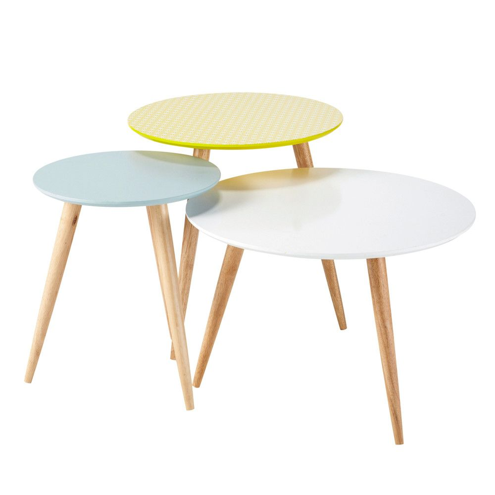 Nest of 3 Vintage Coffee Tables, Multicoloured W 40cm   W 60cm