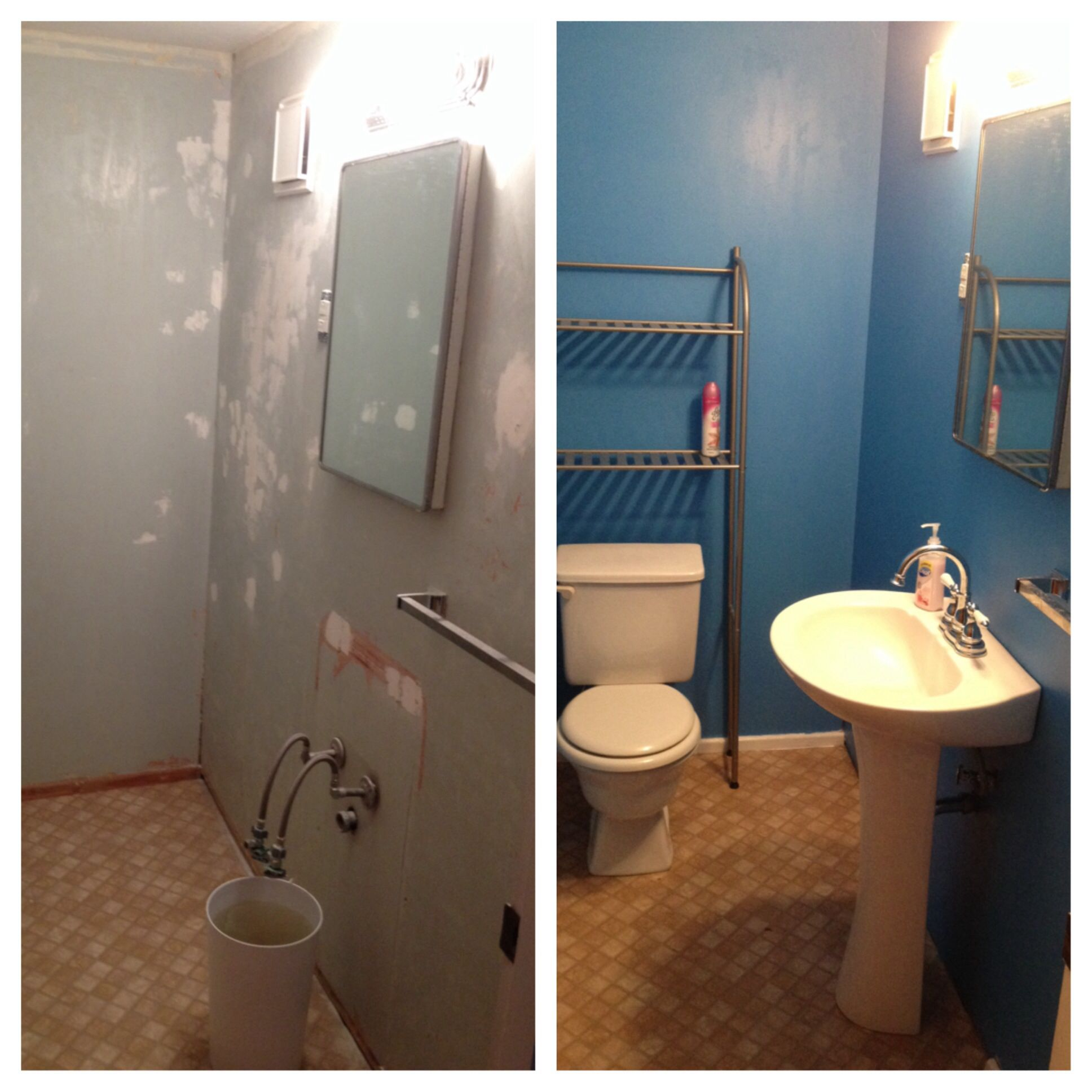 "Before and after of our upstairs bathroom. Benjerman Moore ""Utah Sky""."