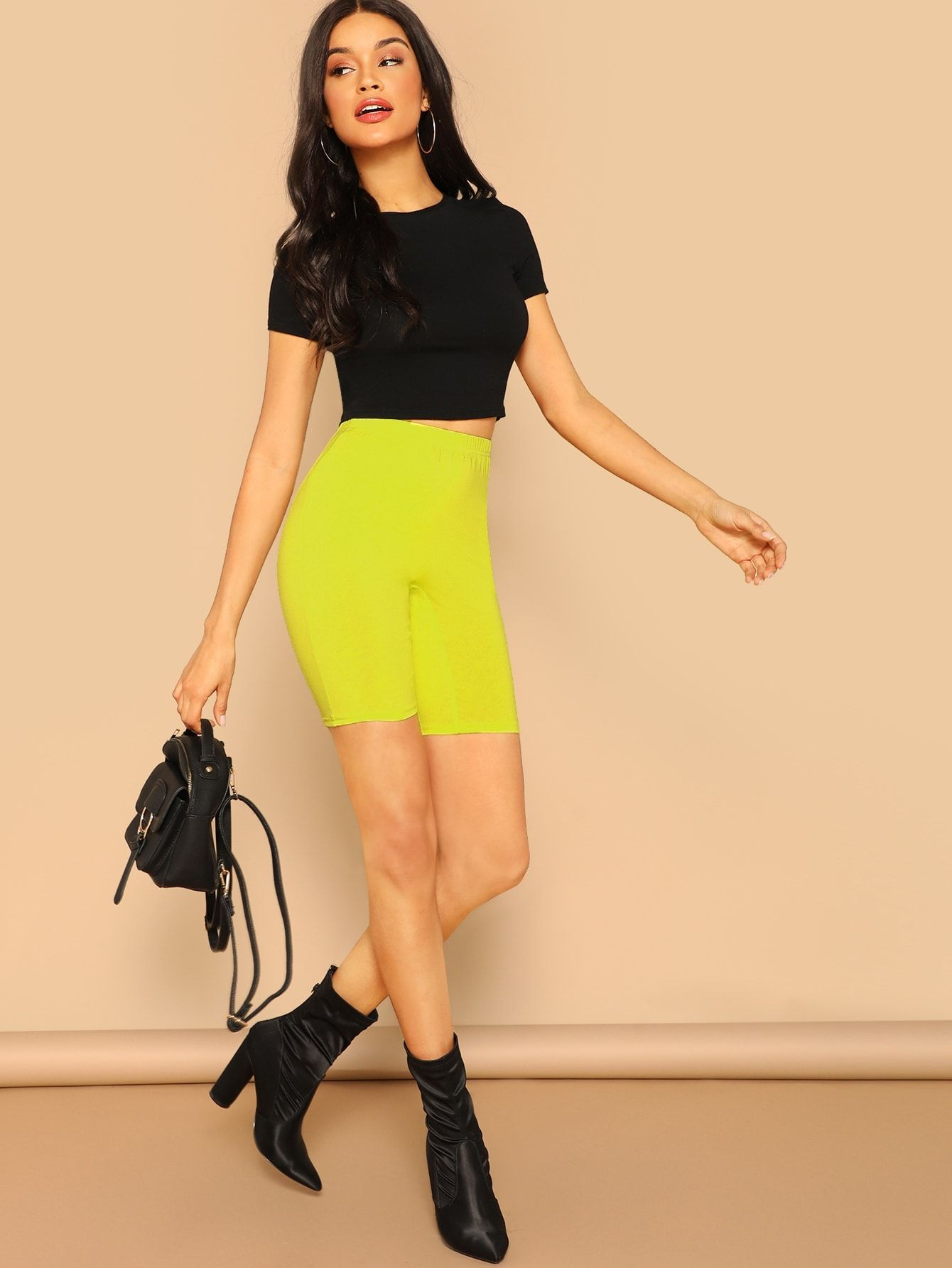 2f45a906f6a7 Sporty Regular Plain Yellow Knee Length Neon Yellow High Waist Leggings  Shorts