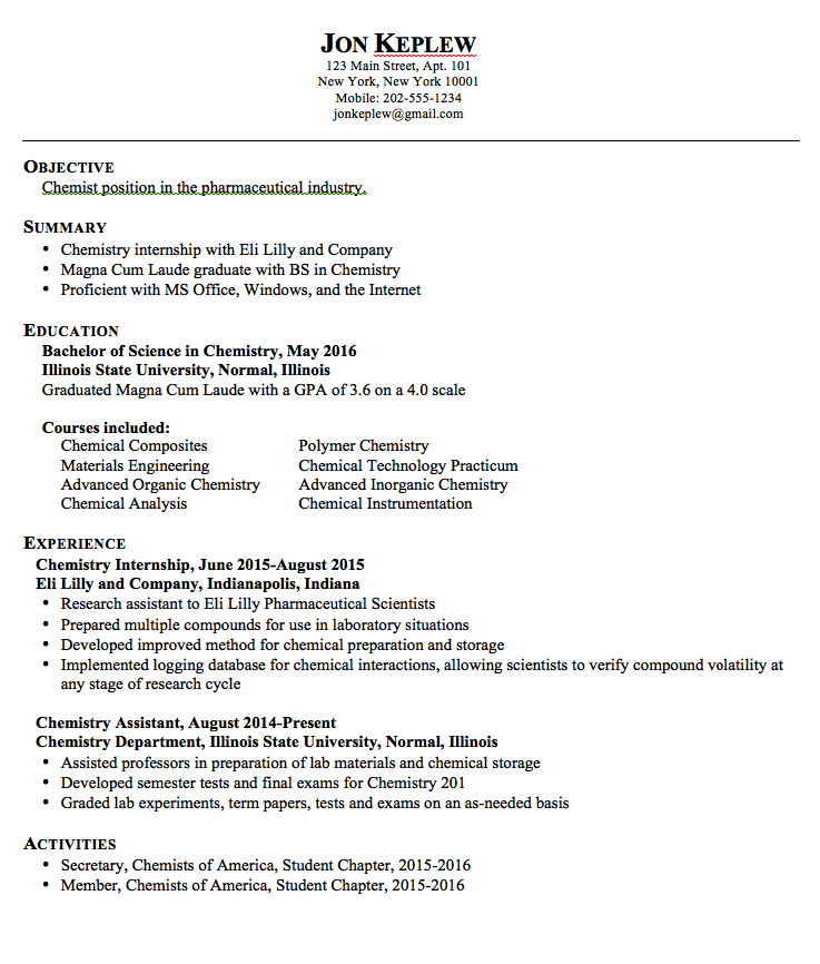 Chemist Pharmaceutical Resume Sample httpexampleresumecvorg