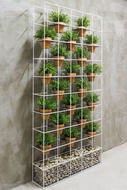 plantas em vasos de barro expostas em estante de ferro #ummauertergarten