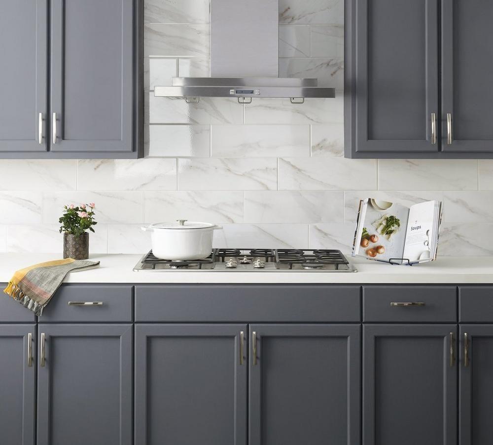 - Prestige Calacatta Polished Ceramic Tile Large Kitchen