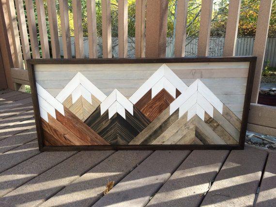 a89a99ac13b Reclaimed Wood Wall Art Mountain Scene, Mantel Art, Cabin Decor, Rustic  Style,