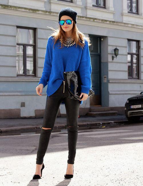 Women's Blue Oversized Sweater, Black Leather Leggings, Black ...