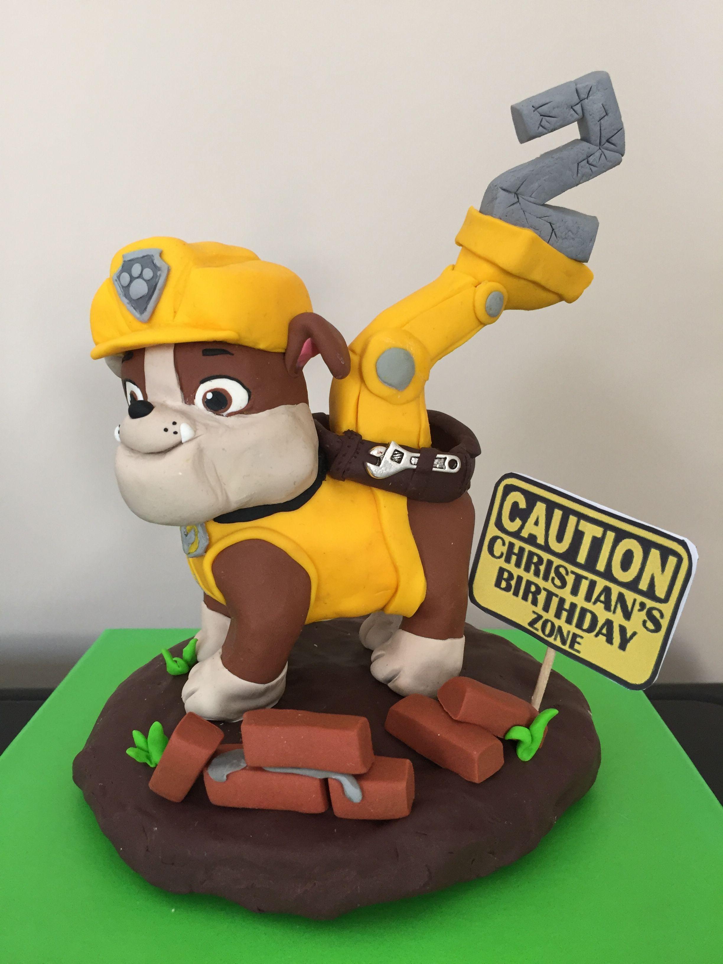 Cake topper paw patrol rubble birthday cake fimo pdz
