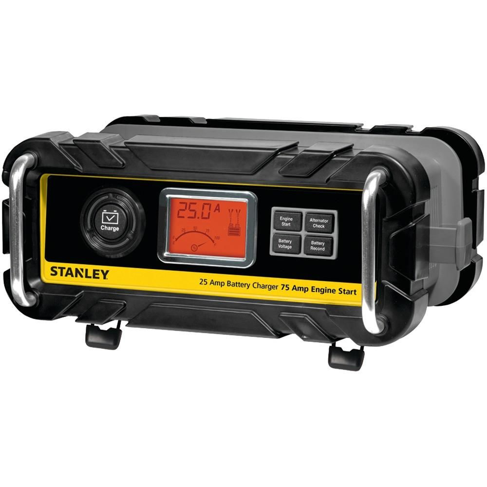 Stanley Battery Charger And Maintainer With Engine Start 25 Amp Charger 75 Amp Starter Battery Charger Battery Battery Repair