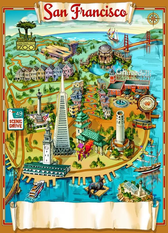 San Francisco Map Tourist.Illustrated Map Of San Francisco San Francisco Cake Ideas