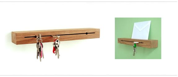 Clever, Slim Line, Wall Mounted Key Holder In Solid European Oak. Use A Key  On Your Key Ring To Slot Into The Slit. The Holder Doubles As A Ledge /  Letter ...