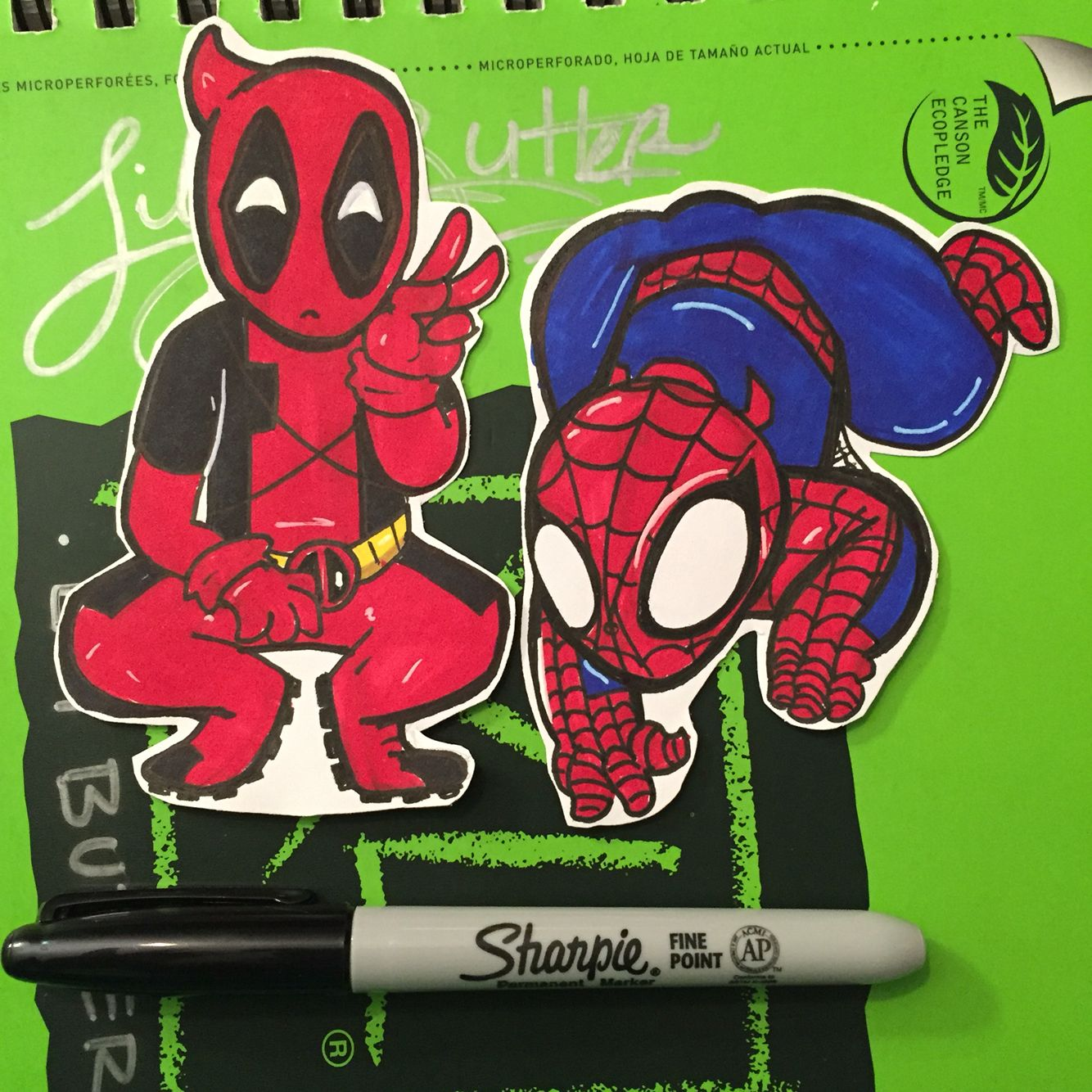 Deadpool and Spider-Man stickers- @SlothsInHats