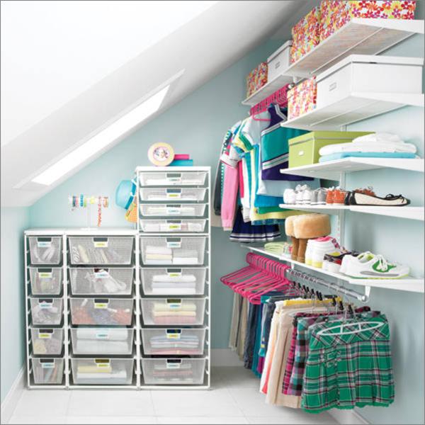 Ideen begehbarer kleiderschrank dachschräge  30 coole Aufbewahrung Ideen im Mädchenzimmer | Kleine Mädchen ...