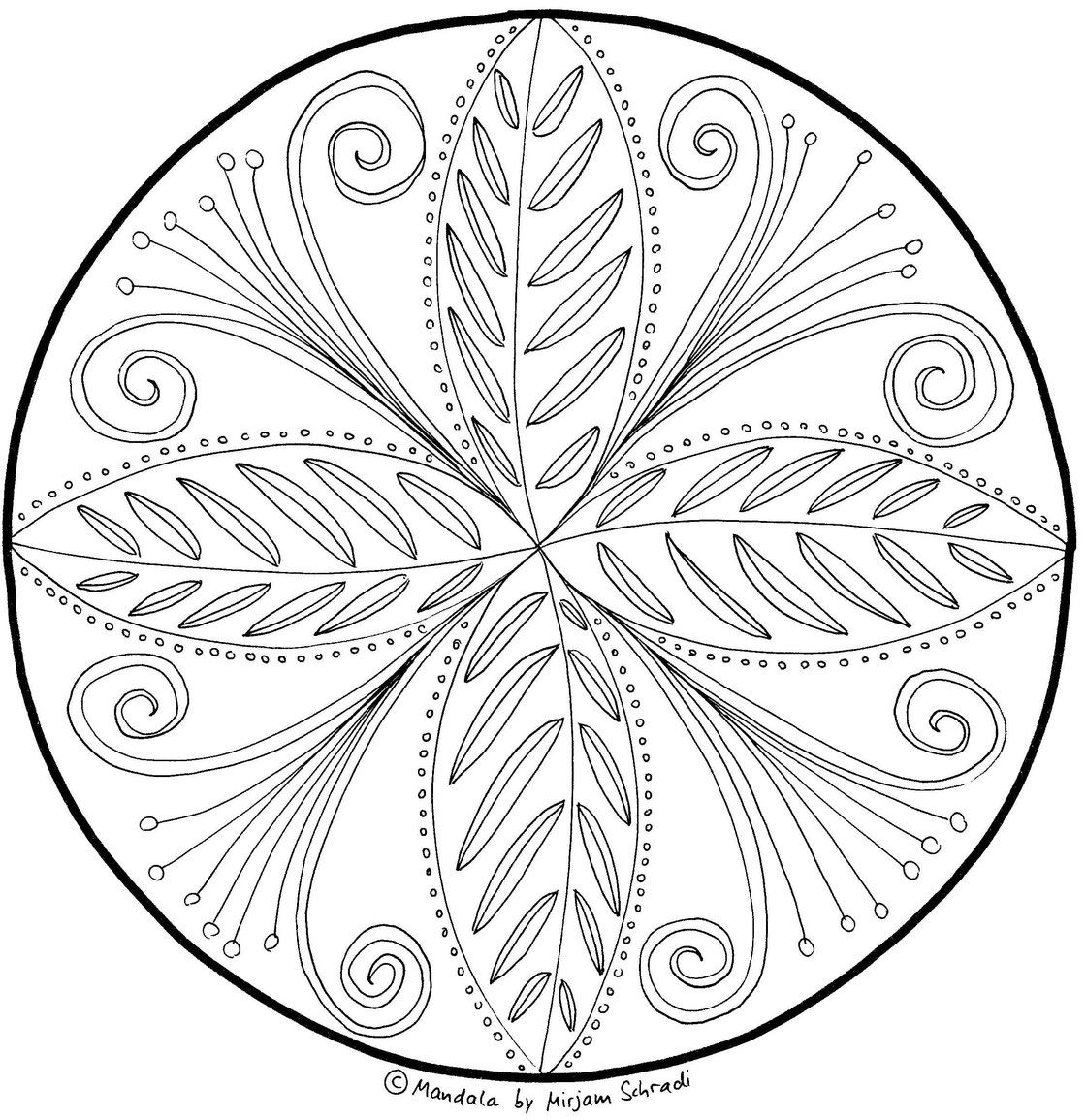 intuitiv gemaltes blumen mandala zum ausdrucken für