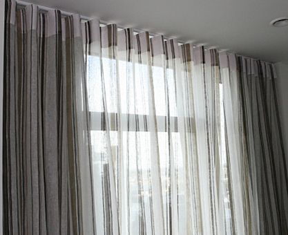 Bedroom Sheer Voile Curtains With Ripplefold Heading And Blackout Behind Where Privacy Is Important Consider Cotton Voiles Or Linens As A