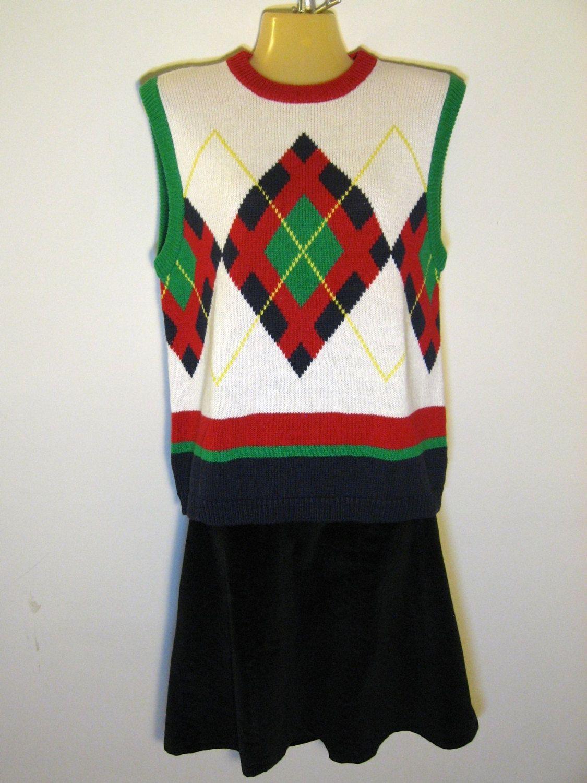 vintage preppy sleeveless sweater or sweater vest argyle primary