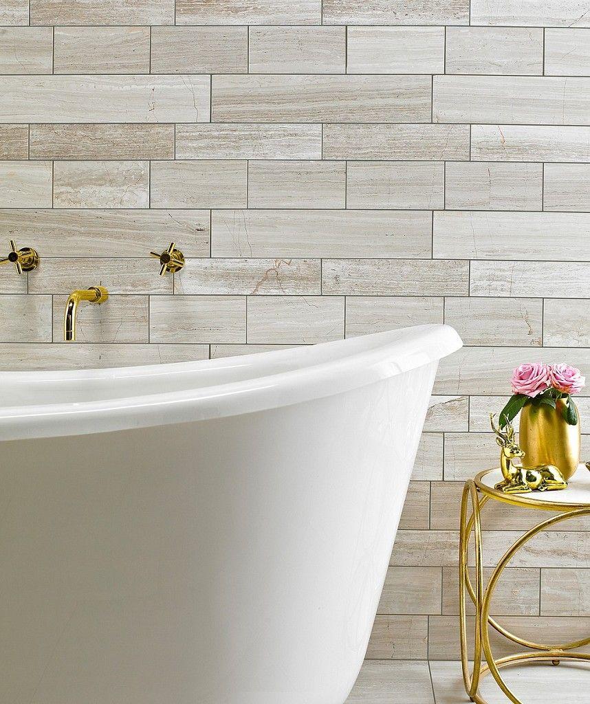 Teakwood Polished Tile 10cm X 45cm Bathroom Wall Panels Kitchen Wall Tiles Topps Tiles