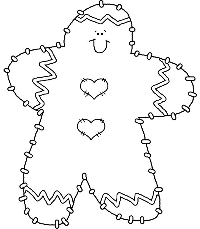 Gingerbread On The Christmas Coloring Page