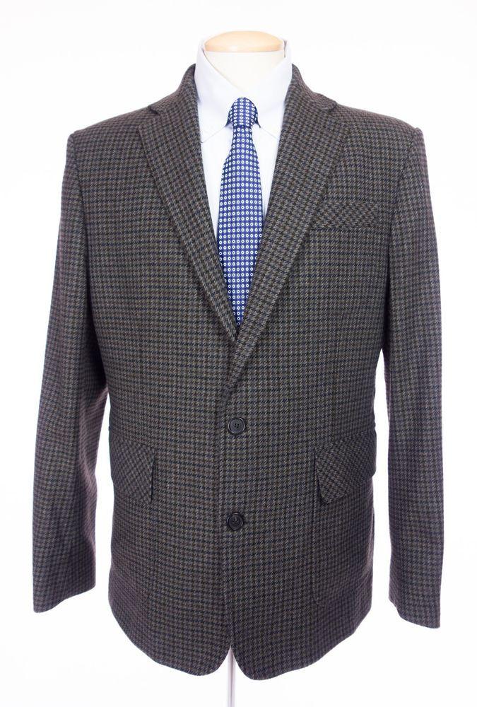 05d71ddf4a858 BILLY REID Mens Sport Coat 42 L Brown Multi Houndstooth Wool Blend Blazer  #BillyReid #TwoButton