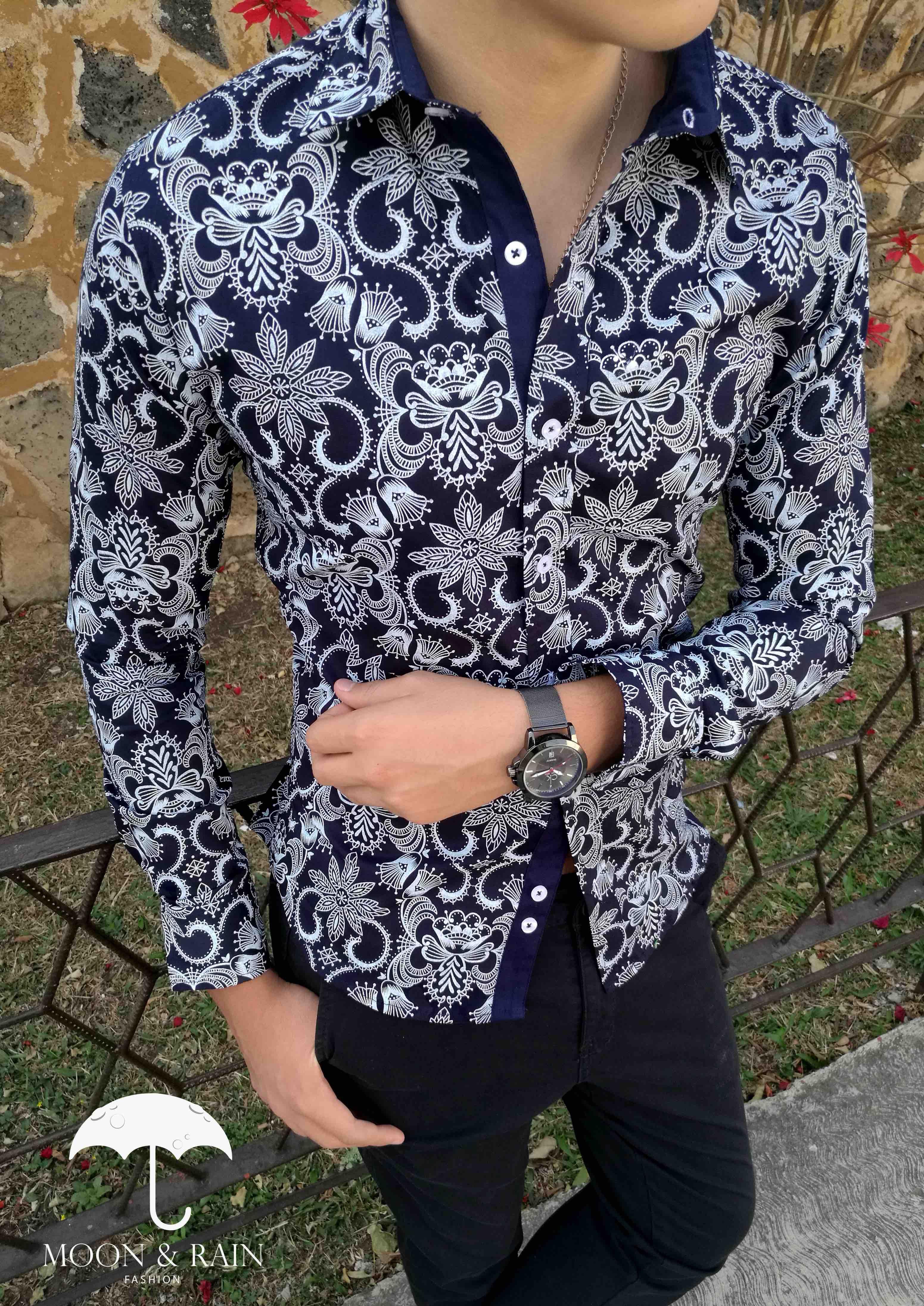 Camisa Marino de Flores Blancas para Hombre   Moon & Rain