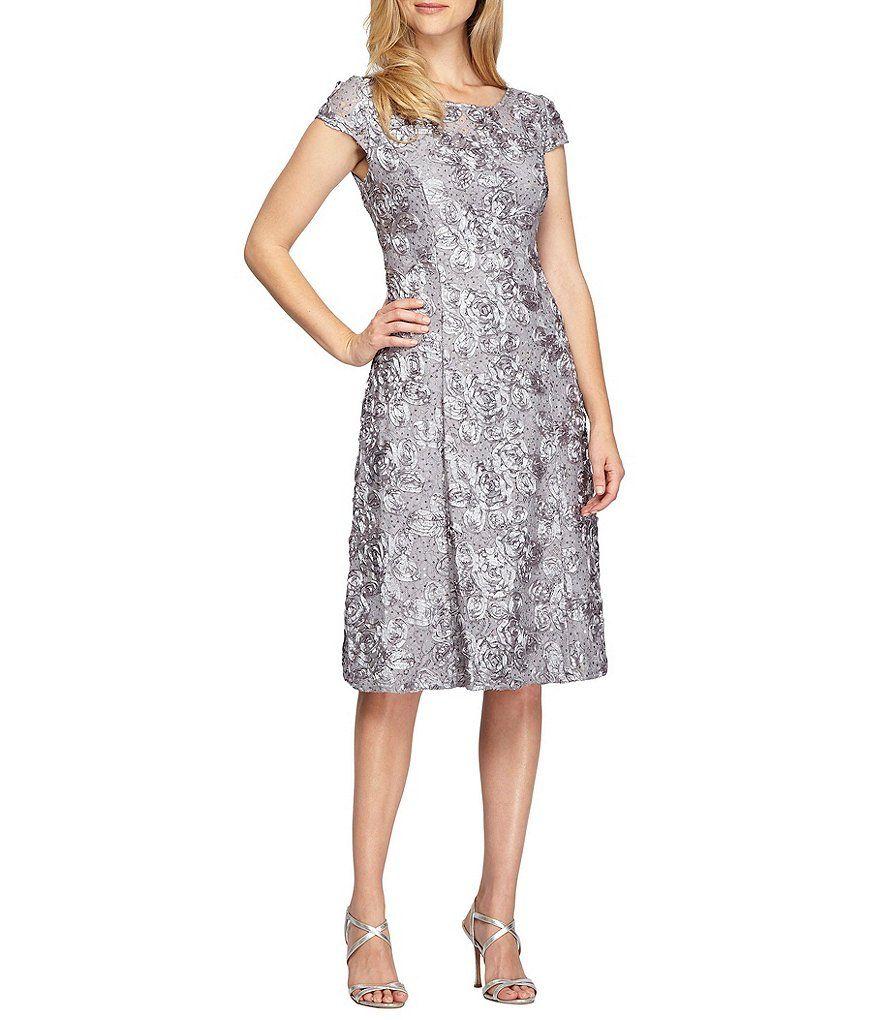 0d679adcc6 Alex Evenings A-Line Rosette Midi Dress | wedding | Dillards dresses ...