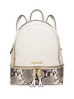 8fec3d6bf111a0 MICHAEL MICHAEL KORS - Rhea Small Leather & Snake-Embossed Zip Backpack