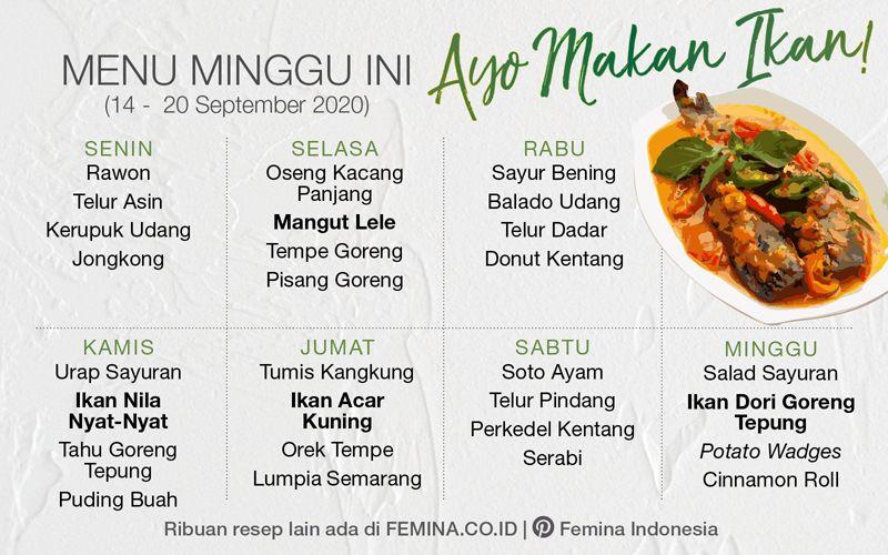 Daftar Menu Mingguan 21 27 September 2020 Ayo Makan Ikan Makanan Ikan Masakan Indonesia Menu Mingguan