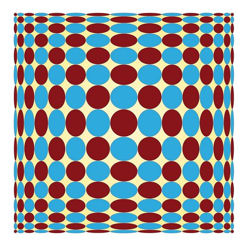 op art maroon and pale blue spots