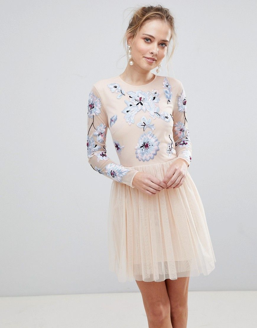d39e06699f1a spring style Pink Floral Dress, Pink Tulle, Floral Dresses, Pink Dresses,  Nude