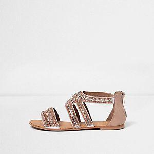 70dd8b1dc Rose gold embellished multi strap sandals