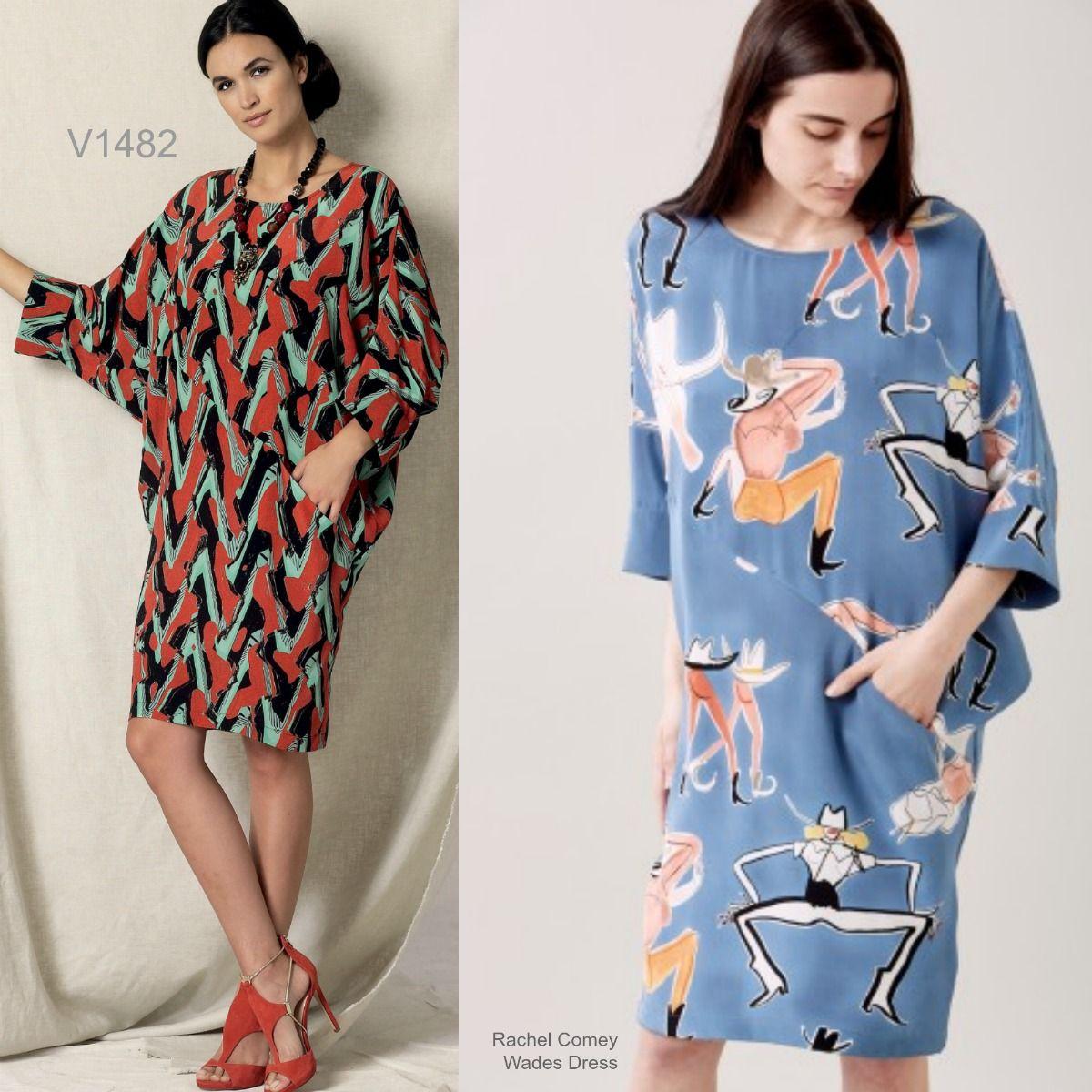 Vogue-1482-XY Vogue Ladies Sewing Pattern 1482 Batwing Dolman Sleeve Dress