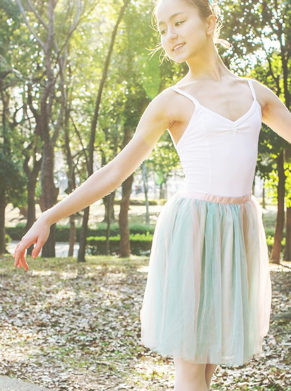 On Miko Fogarty: The ready-to-wear tulle skirt in seafoam/rose coral