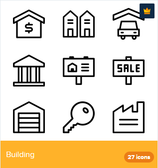 27 Premium Vector Icons Of Building Designed By Deemakdaksina Building Icon For Sale Sign Icon